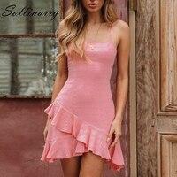 Sollinarry Sleeveless Sexy Short Mini Dress Casual Party Summer Dresses Women Bow Backless Spaghetti Strap Female Dress Vestidos