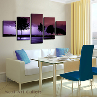 Spray Painting Purple Stormy Night Modern Abstract Decoration Art High Definition Print On Canvas Waterproof Canvas Art 5 Panel