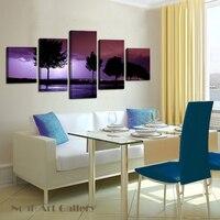 Lightning Night Modern Canvas Art Village Landscape Canvas Printing HD Printed On Fabric Cloth Waterproof 5Pcs