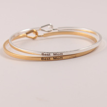 10pcs/lot Hot Sell Silver Gold Mantra Bracelet Inspirational Engraved Copper Bangle For Women Gift