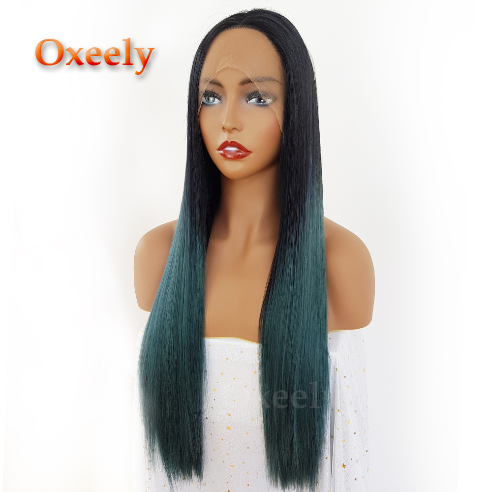 Green Color Ombre Hair Synthetic Lace Front Wigs Long Straight Hair Free Part Glueless Synthetic Lace Front Wigs for Women