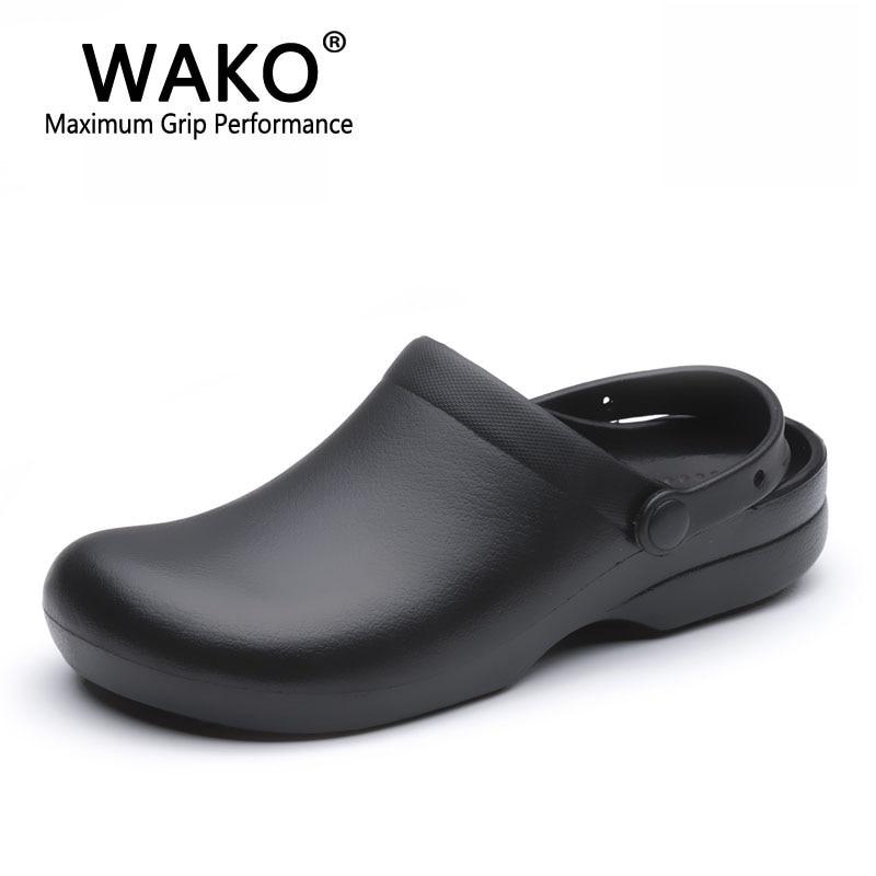 WAKO 9011 Männer Chef Schuhe Super Anti-rutsch Küche Arbeitsschuhe kochen Sandalen Clogs mit Riemen Schlupf auf Atmungs Schwarz Größe 36-44