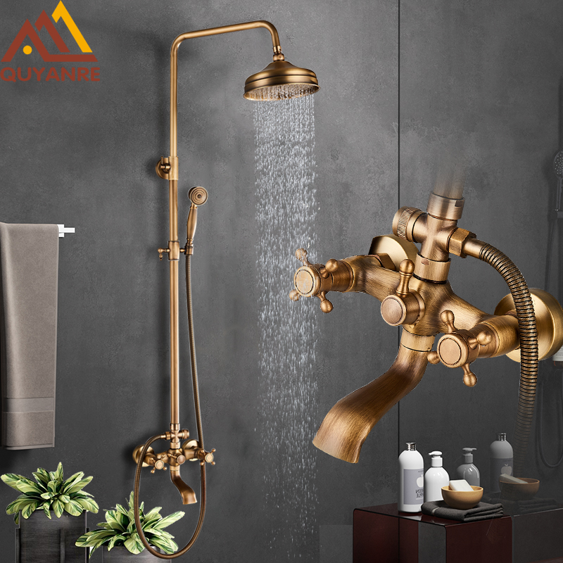 Quyanre Antique Brass Shower Faucets Set Wall Mounted Dual Knobs Shower Mixer Tap Hot Cold Water