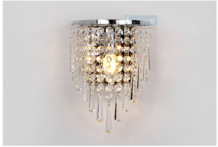 Hanging Wall Lights: Free Shipping bedroom Crystal Hanging Wall light Modern Cemi-circle  Stainless Steel Base Bathroom Washroom,Lighting