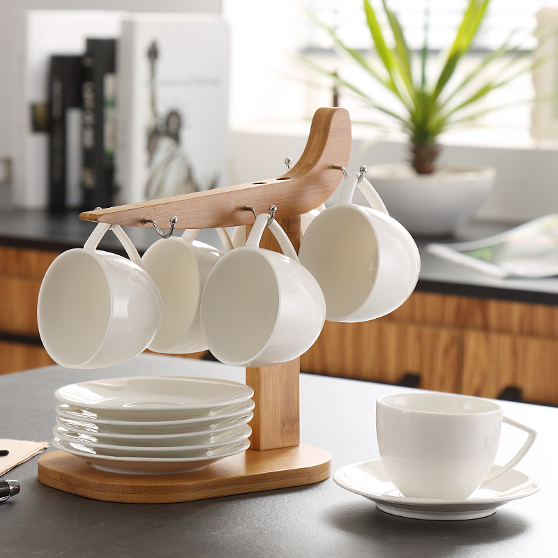 white brief fashion coffee cup ceramic cup with saucer rack set