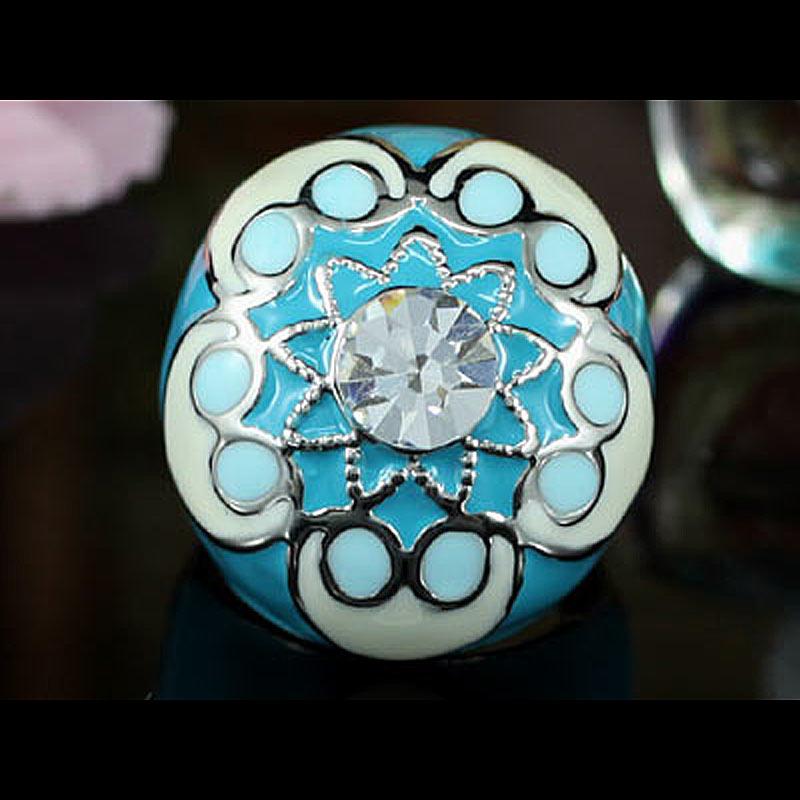 Peacock Star Aqua Blue Flower Ring use Austrian Crystal - CSR140