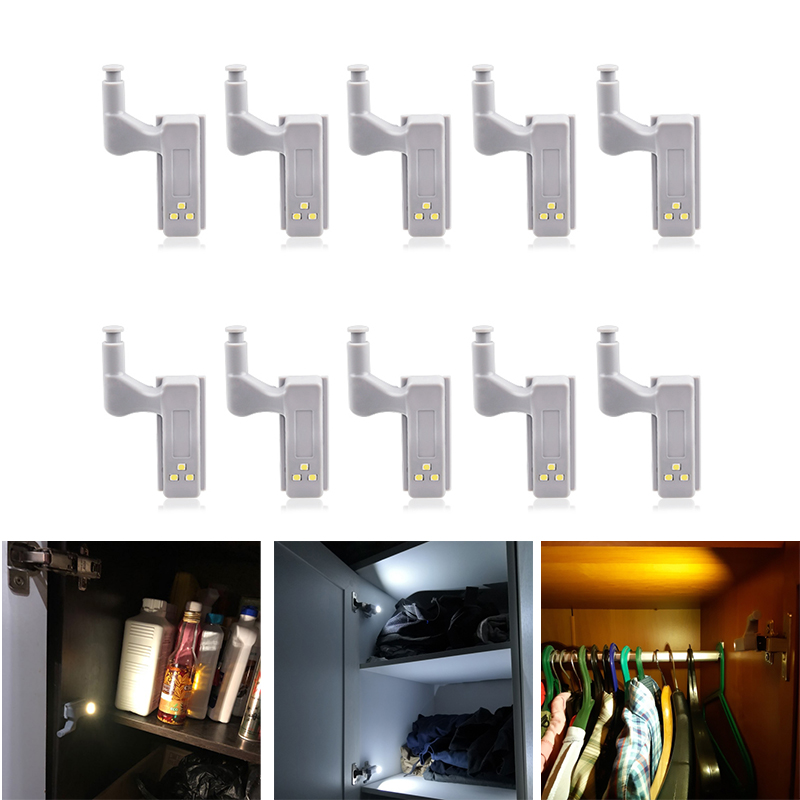 10Pcs Sensor Cabinet Hinge LED Light Under Cabinet Light Cupboard Wardrobe Closet Light LED Night Light Auto Switch ON/OFF Lamp