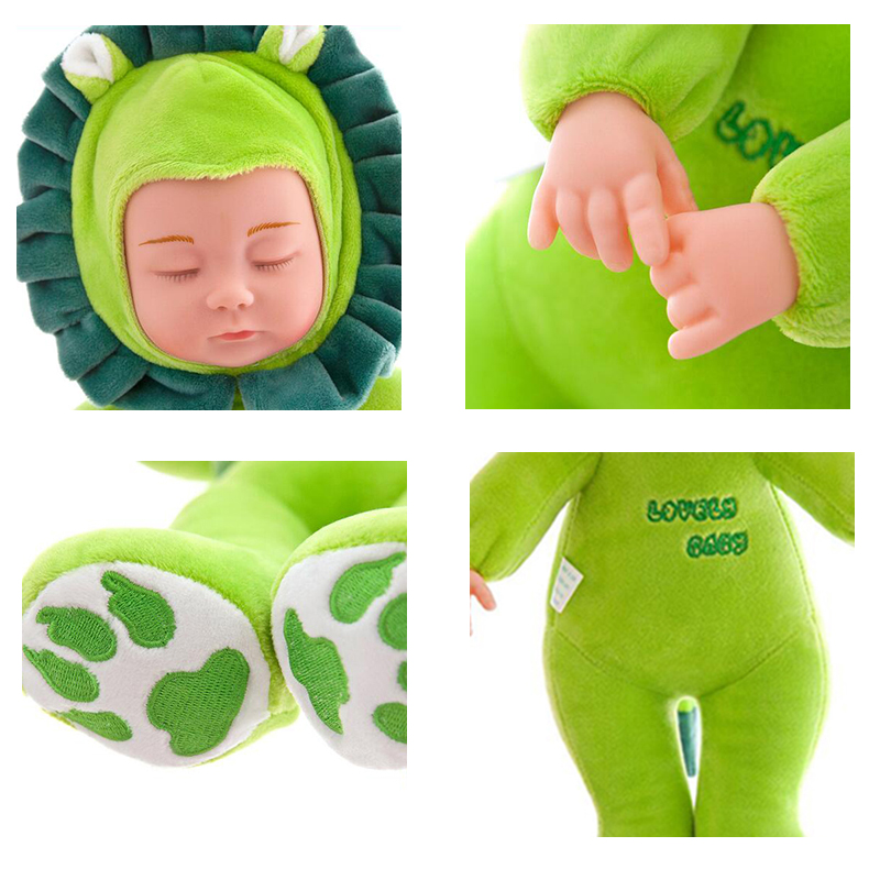40cm Sleeping Baby Dolls Reborn with Cute Animal Doll Clothes Children Playmate Bed Toys Silicone Reborn Baby Dolls with Music 1