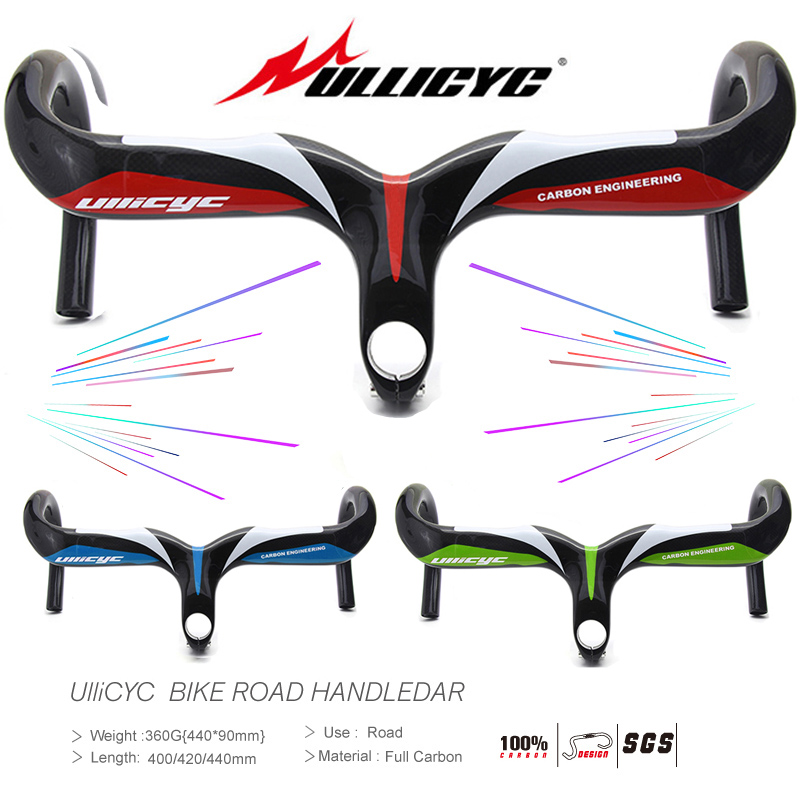 Black bottom Concise Superstrong Handlebar with stem Full Carbon Road Bicycle Bent Bar 400 420 440 90 100 110 120mm Free Ship in Bicycle Handlebar from Sports Entertainment