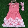2016 new baby clothes girls summer  hot sell sleeveless dress pink kids  boutique outfits ruffles with necklace and headband set