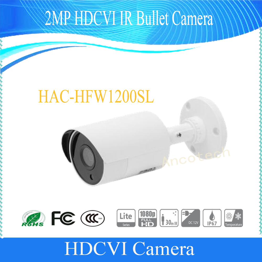 Free Shipping DAHUA Outdoor Camera 2Mp 1080P FULL HD Water-proof HDCVI IR Bullet Camera IP67 Without Logo HAC-HFW1200SL 2016 dahua hac hfw2220e 2 4m 1080p ip67 water proof hdcvi ir bullet camera english firmware 2016 hot sale free shipping