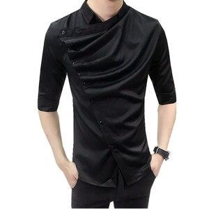 Image 5 - 2018 夏ゴシックシャツフリルデザイナー襟のシャツ、黒と白の韓国男性ファッション衣類ウェディングパーティークラブもシャツ