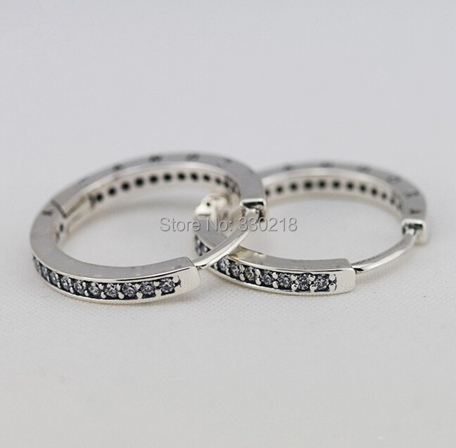 New 100% 925-Sterling-Silver Hoop Earrings Round Earrings Charm With CZ Stones DIY Fashion Jewelry For Women Wholesale