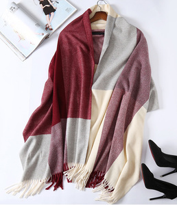 Image 2 - 2020 New Real Cashmere Scarf Stole Plaid Wool Scarves For Women Winter Warm Female Poncho Cape Fashion Lady 100 Pashmina Shawls