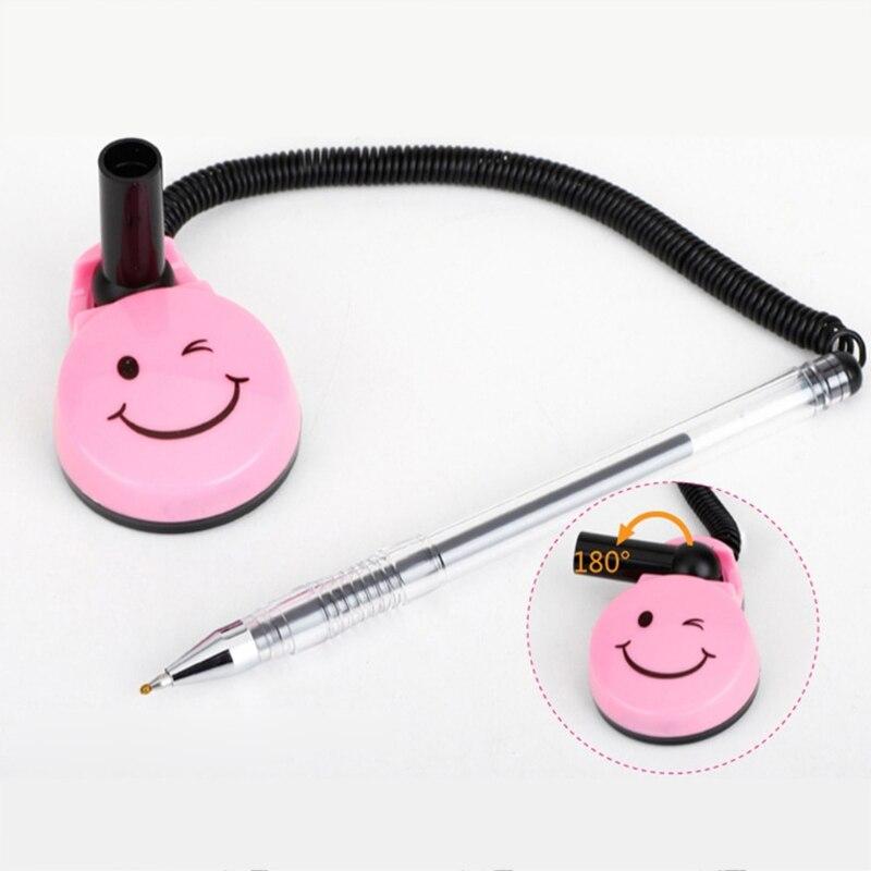 Smile Face Pen 0.5 mm Black Desk Pen Gel Ink Bank Office Front Desk Counter Pen W15