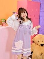 Милое платье принцессы в стиле Лолиты; новое и красивое весеннее платье для маленьких девочек; шерстяная нашивка в форме сердца; фиолетовое