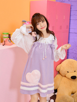 Princess sweet lolita dress Fresh and lovely spring dress for young girls with heart shaped wool patch purple strap dress VC268