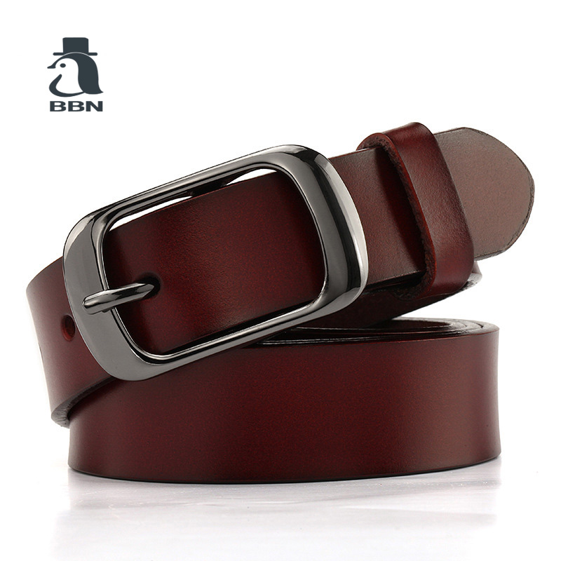 BBN Glossy leather belt fashion leather pin button womens leather belt lengthening simple and casual wear black.