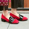 VINLLE 2017 Женщины Насосы Британский Весна/Осень Обувь Конский Волос Мед каблук Квадратных Ног Толстый Каблук Пряжки Женская Обувь Большого Размера 34-43
