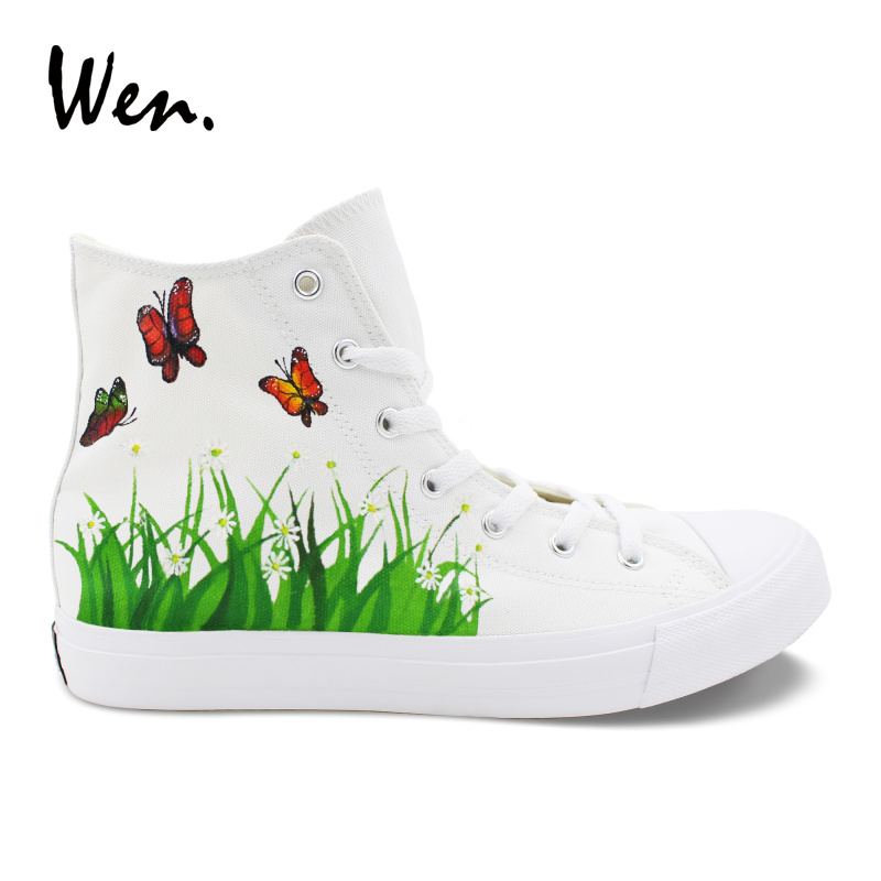 Wen Canvas Shoes White High Top Hand Painted Shoes Butterfly Flowers Grass Original Design Graffiti Sneakers Big Size Laced Flat wen design custom hand painted canvas fashion shoes colorful lipsticks high top shoes sneakers white graffiti shoes men women