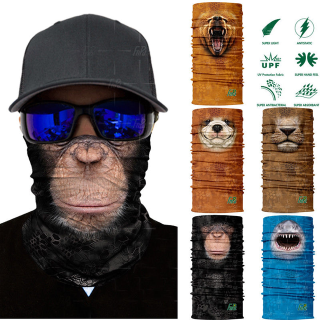 3D Animal Ski Cycling Mask MTB Road Bike Bicycle Half Face Mask Dustproof Cycling Riding Running Sports Mask Scarf Neck Warmer