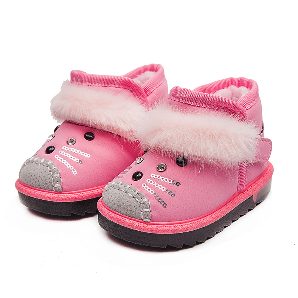 2017 fashion baby girl shoes Children Toddler Cartoon Fur Warm for skiing in winter Girls Luminous Shoes Sneakers Boots ...