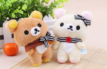 Super Kawaii Lover Bear 11CM Plush , Stuffed toy doll ; Keychain Charm Pendant Plush Toy ; Wedding Gift Toys(China)