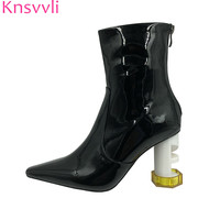 Knsvvli Screw Hollow Cut Out Chunky High Heel Ankle Boots Women Runway Shoes Patent leather Strange Style heel Short Boots Woman
