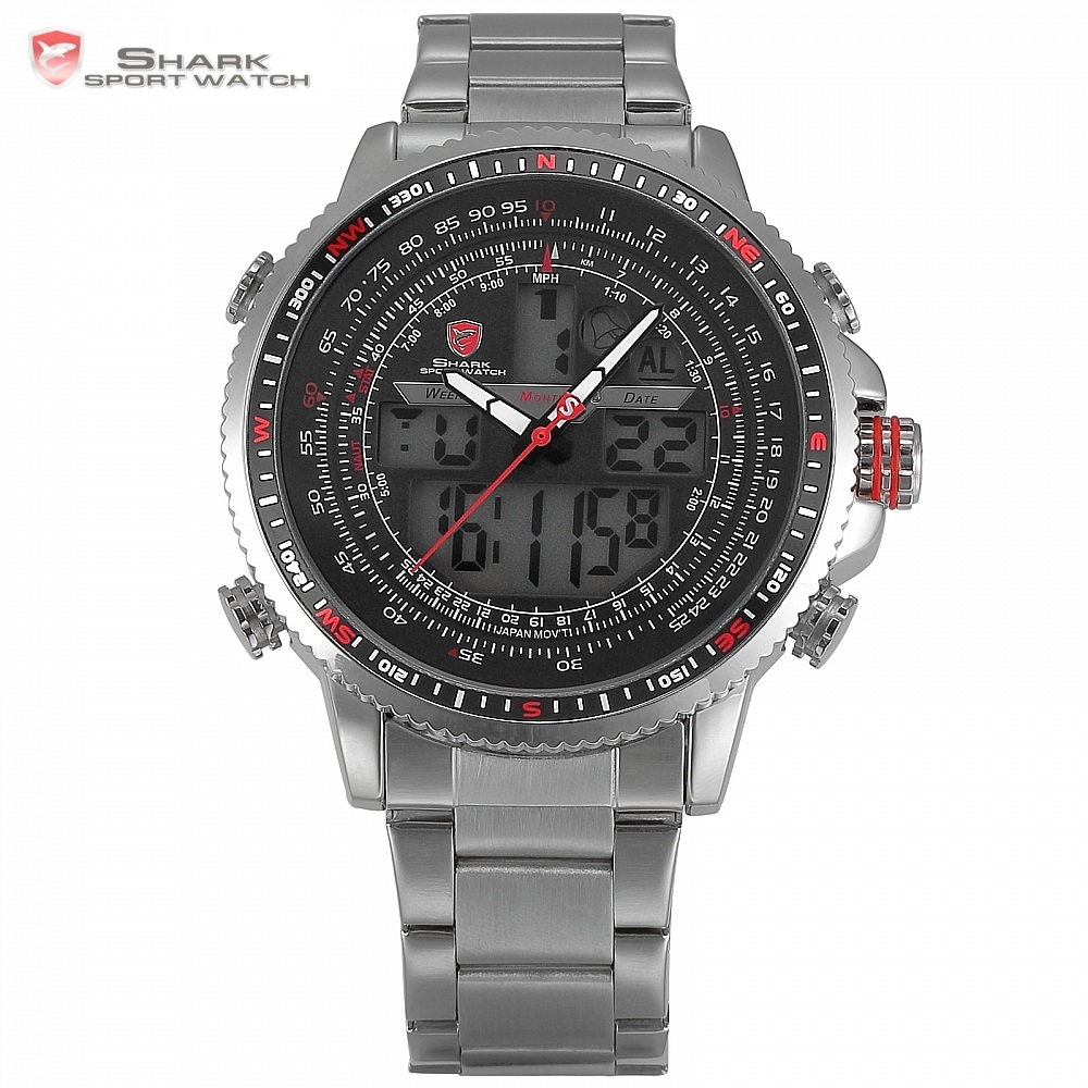 Luxury Winghead SHARK Sport Watch Men Black Dual Time Date Alarm Steel Band Relogio Masculino LCD Quartz Digital Watches /SH325N gulper shark sport watch red black digital steel band dual movement reloj de pulsera led date alarm men s quartz watches sh360