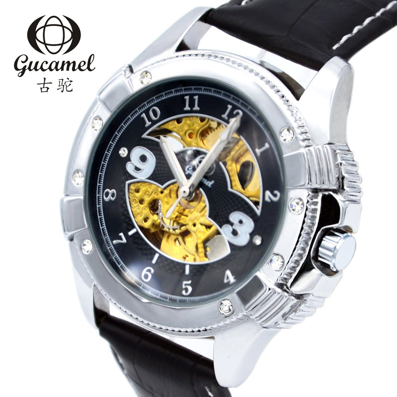 GUCAMEL Brand Luxury Men Business Watch Skeleton Automatical Mechanical Wristwatch Male Genuine Leather Watches Clock Masculino automatical mechanical watches men luxury brand watch male clock leather wristwatch men skeleton casual business gold watch
