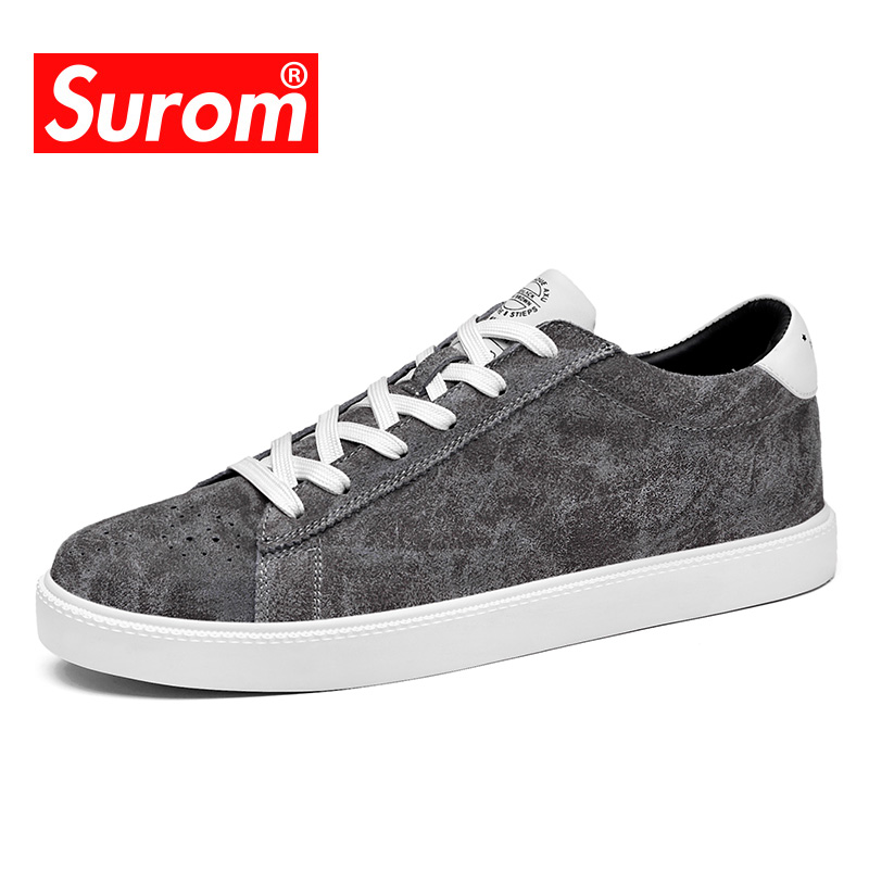 SUROM Sneakers Luxury Brand Casual Shoes For Men 2018 Spring/Autumn New Fashion Shoes Men Krasovki Retro Style Leather Shoes Man