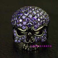 Импорт Таиланд, 925 Solid серебристый, черный полный Циркон skull ring