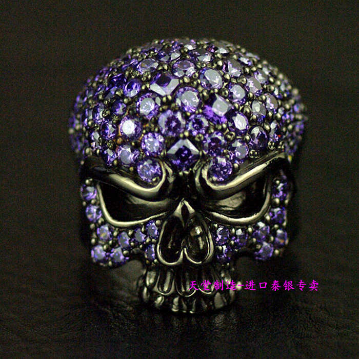 Thailand imports, 925 Solid Sterling Silver Black full Zircon Skull Ring