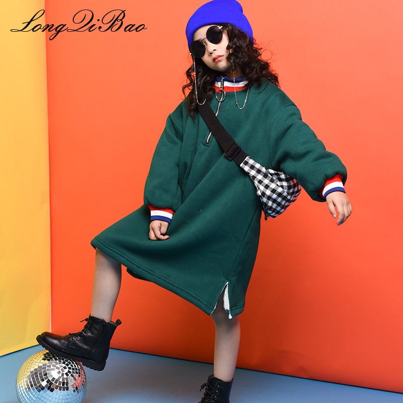 Baby girl plus velvet sweater 2018 autumn and winter new big children children Korean version of the wild round neck sports dres bibicola 2018 fall winter new girls long sleeved warm dress korean version of the children s leisure sweater princess party dres