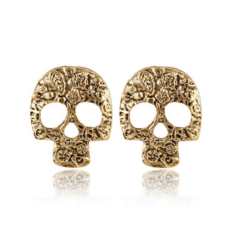 Hyperbole Punk Style Hollow Skull Pattern Earrings Ear Studs Vintage Women Men Stud Earrings Halloween Jewelry aretes brincos