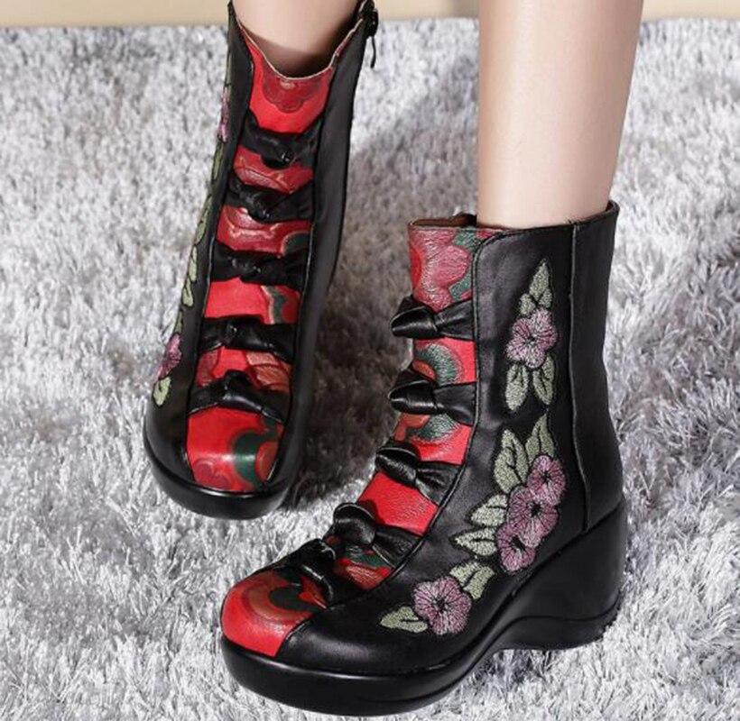 Bottes D'hiver Le Black Chaussures Femmes Cuir En Dans Nouveau National De Cales Style Tube Brodé Simples rrRd4w