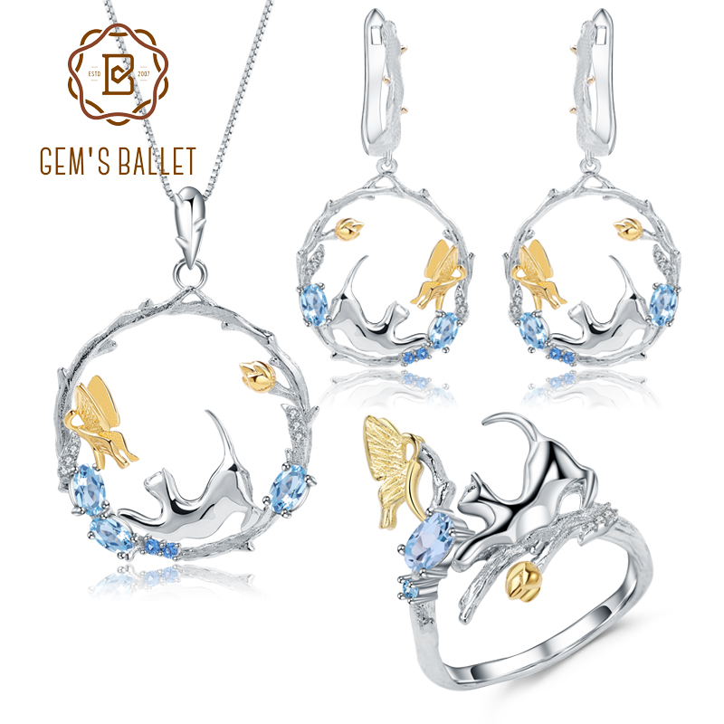 GEM'S BALLET Natural Swiss Blue Topaz Jewelry Sets 925 Sterling Silver Handmade Cat & Butterfly Ring Earrings Pendant For Women