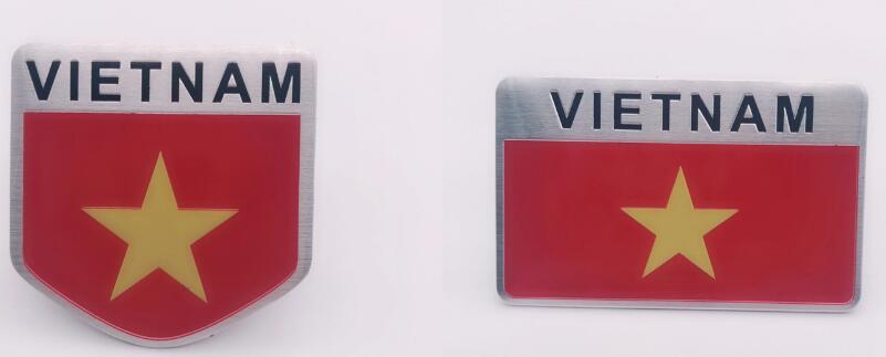200 Piece VIETNAM Flag Car styling Car Stickers Aluminum Alloy VIETNAM National Flags Car Tail Window