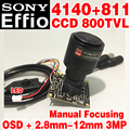 "1/3 ""Sony CCD Effio 4140dsp 811 800tvl Verdadera Analógico hd Mini chip de módulo de Monitor de 2.8mm-12mm enfoque Manual cable Amplio WDR OSD meun"