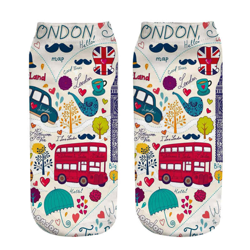 i love london running chick digital photo printed ankle socks women 2018 new