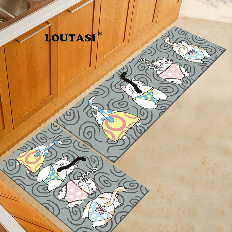 Loutasi Long Floor Mats Cute Cats Animals Printed Kitchen