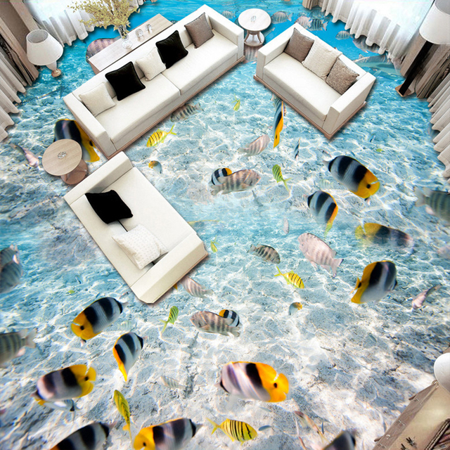 Nach 3D Boden Wandbild Tapete Für Wände Ozean Welt Tropical Fisch 3D Bad  Wohnzimmer Kunst Bodenbelag