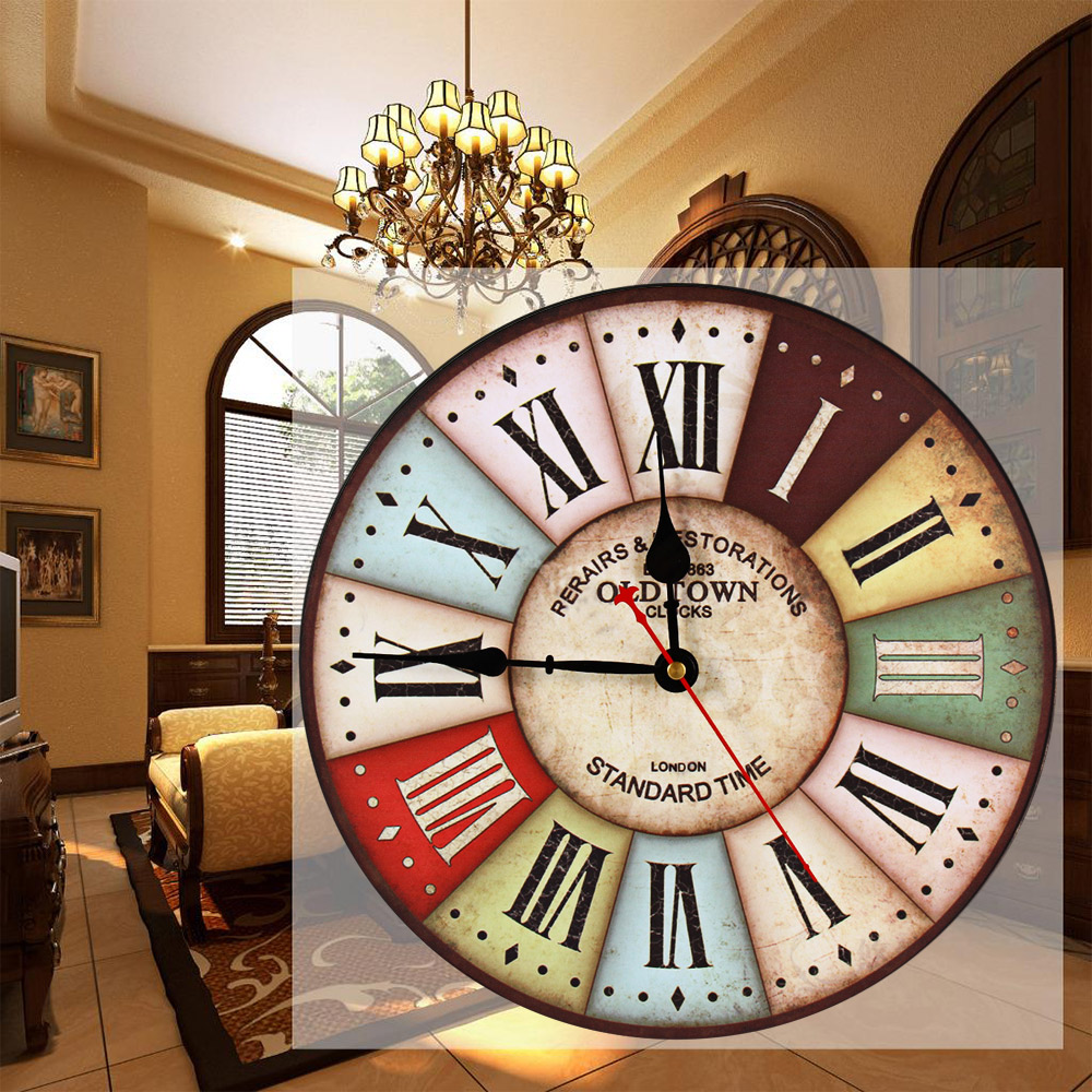 Classic 12in large wood wall clock vintage retro style with roman classic 12in large wood wall clock vintage retro style with roman number metal frame for home decor for lobby living room in wall clocks from home amipublicfo Choice Image
