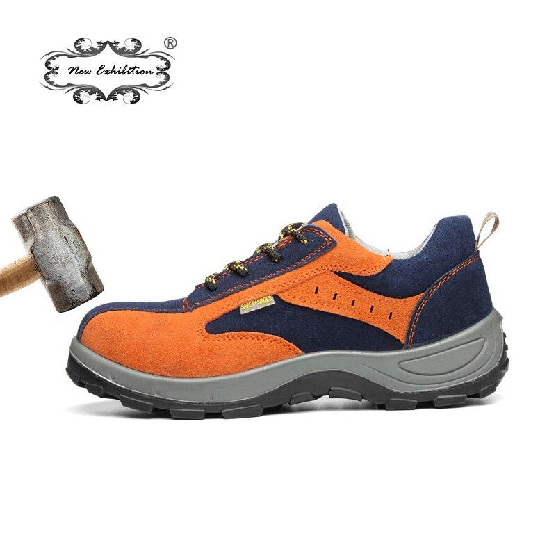 Nueva exposición de zapatos de seguridad de punta de acero para hombre botas de seguridad transpirables Anti-smashing zapatos de seguridad de trabajo de protección duradera zapatos de seguridad de trabajo NE