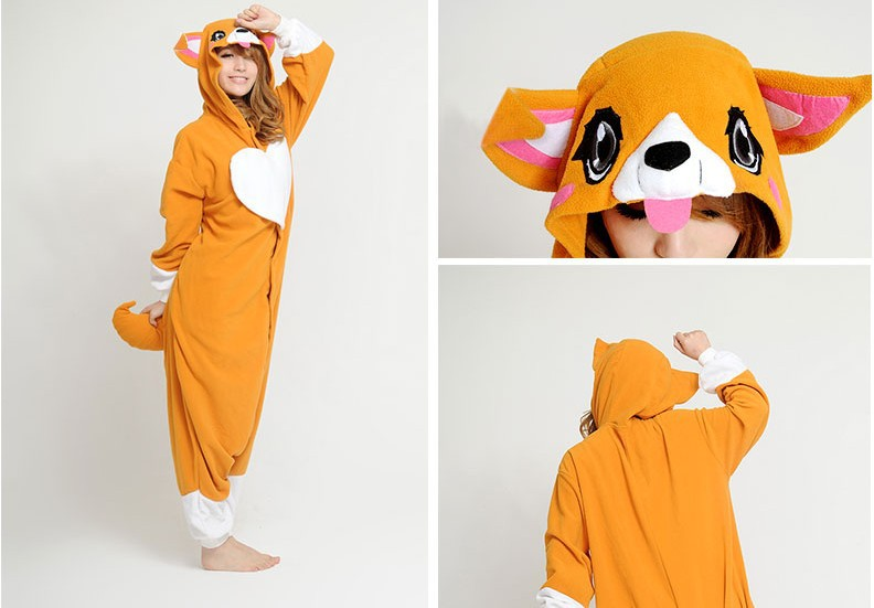 Cute Animal Dog Puppy Corgi Onesie One Piece Jumpsuit Adult Women Men's Unisex Cosplay Party Pajamas Halloween Christmas Gift