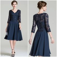 Mother Of The Bride Dresses With Jacket V Neck 3/4 Sleeves Knee Length Lace Top Mother Evening Dress Navy Blue Chiffon Dresses