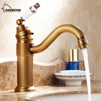 Antique blue and white porcelain decorative faucet hot and cold water mixing faucet European style copper brushed faucet
