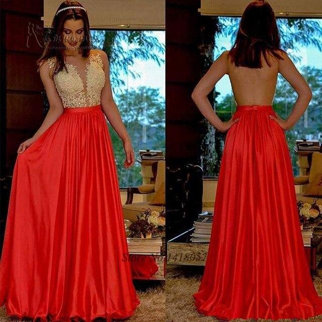 283ccbcc6121 Vestido Longo de Festa Sexy Backless Evening Dresses Long Red Champagne Prom  Dress Lace Party Gowns 2017 Tank Abiti da Cerimonia