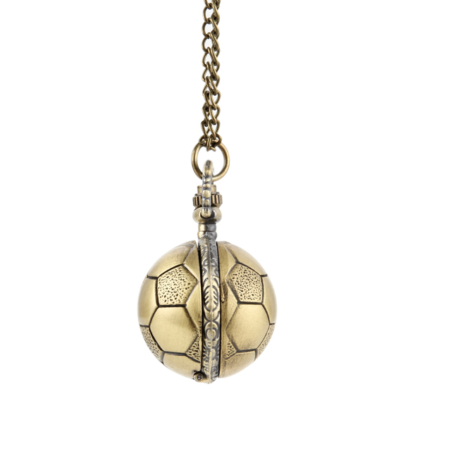 Retro Soccer Ball Shape Bronze Round Quartz Pocket Watch with Chain Necklace Jewelry Gifts  TT@88