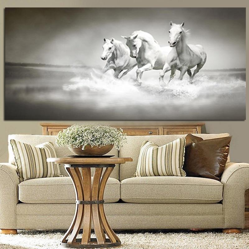 Nowoczesne białe konie biegną w obrazie olejnym rzeki HD Drukuj na - Wystrój domu - Zdjęcie 3